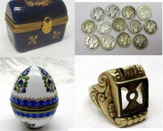 Scrap gold ring, enameled trinket box, mercury dunes
