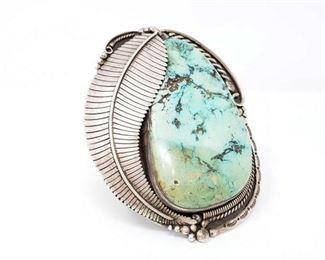 """2000 JM Large Turquoise Cuff Bracelet, 440.6g Large Genuine Turquoise  Stone Measures 4""""x2.5"""" Approx 5.25"""" Face Stamped JM"""
