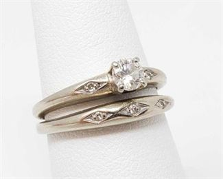 2250  14k Gold Diamond Ring Set- 5.5g Weighs Approx 5.5g, Size Approx 7.5, Diamond Measures Approx 1/4 CT