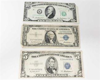 2710  Blue Seal 5 Dollar Bill, Blue Seal 1 Dollar Bill, And 10 Dollar Bill 5 Dollar- 1953 A 1 Dollar- 1957 10 Dollar- 1950 B