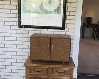 Lane Record cabinet MCM and GE vtg  turntable/radio