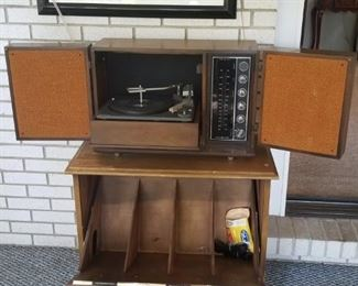 Vtg. GE  radio and turntable and MCM cabinet both open