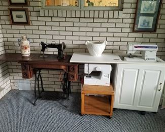 Wheeler and Wilson antique.  Elna and Pfaff Tiptronic sewing machines