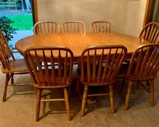 $300.00......Oak Dining Table and 8 Chairs Set