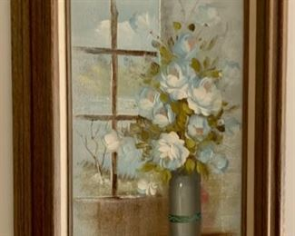 $60.00........Floral Oil Painting by H. Sweeting (J588)