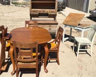 maple dining set, artist table and chair    Primitive Hoosier sold