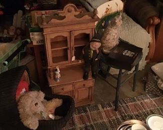Dishware, vintage children's furniture, antique carriage, dolls, hand painted furniture