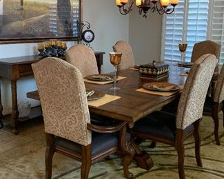Dining Table w Removable Side Extensions and 6 Chairs, Area Rug, Large Artwork, Extra Long Side Table