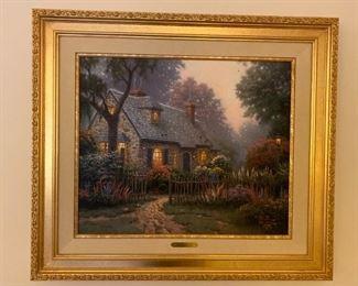 Thomas Kinkade Foxglove Cottage Oil Painting