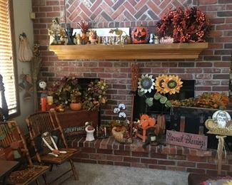 Halloween decorations and bamboo folding chairs