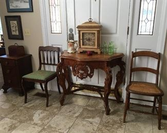Antique carved entry table, antique side chairs, Ethan Allen Mantle Clock, Limoges pitcher