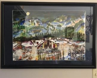 Original watercolor of Park City, Utah by Khaled Salem