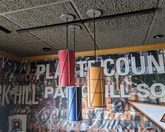 (2) Light Fixtures, Red, Blue, And Orange