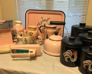 Pink 1950's mixer. Pink can opener, Pink coffeepot, 1950's black canisters with roosters