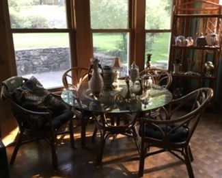 Glass top table and chairs