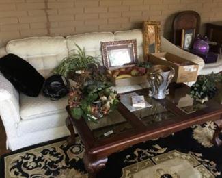 White sofa, coffee tables, decor