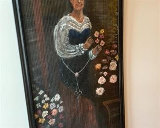 Large hand painted portrait on rattan of lady with flowers.