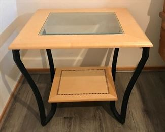 Glass/wood/metal frame side table - two available