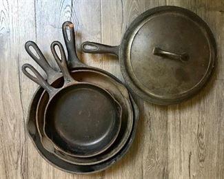 Misc cast iron skillets