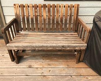 Teak outdoor gliding bench