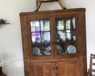 Antique corner cupboard, horse, ironstone