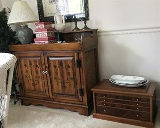 Tool chest, record player cabinet, 12 Days of Christmas cross stitch