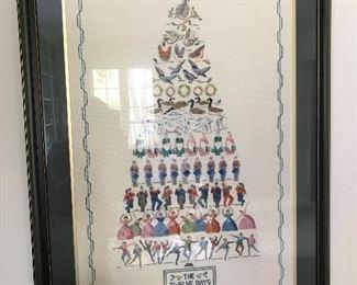 Framed 12 Days of Christmas cross stitch
