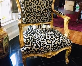 Decorator chair with leopard fabric