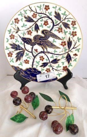 ROYAL WORCESTER REPRODUCTION PLATE (1976) AND PAIR OF CHERRY ENAMELED NAPKIN HOLDERS