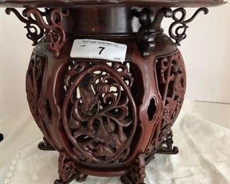 STUNNING CHINESE MAHOGANY CARVED PLANT STAND