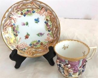 ANTIQUE 19TH CENTURY CAPODIMONTE PORCELAIN DEMITASSE CUP AND SAUCER