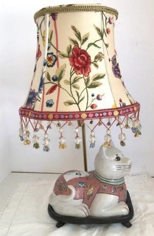 DARLING PORCELAIN CAT LAMP WITH FLORAL FRINGED SHADE