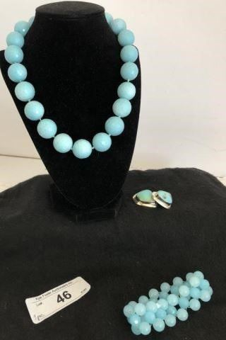 FACETED AMAZONITE SILK HAND KNOTTED WITH SILVER CLASP, STERLING SILVER AND TURQUOISE CLIP ON EARRINGS, SIGNED EWS AND TURQUOISE STRETCHY BEADED BRACELET