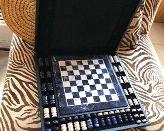 Marble Self Contained Chess Set Sold