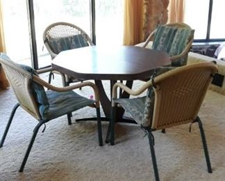 Octagon Card Table with 4 Chairs