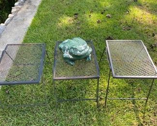 Three Metal Tables One Frog