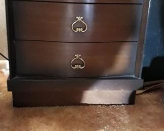 Two Wooden Three Drawer Bed Side Tables