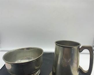 English Pewter Stein and Bowl