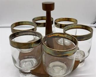 Glassware Set with Gold or Brass Trimming