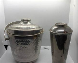 Silverplate ice bucket and cocktail shaker