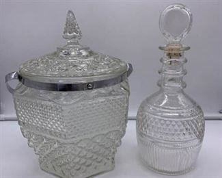 Vintage Crystal Ice Bucket and Whiskey Decanter