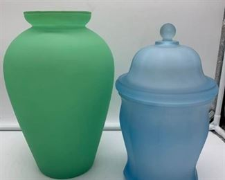 Vintage Frosted Glass Urns