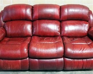 """Leather Sofa With Recliners On Each End And Stationary Center Section, Approx 42"""" High x 82"""" Long"""