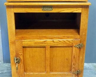 """Surewood Oak Cabinet With Swivel Top, Open Shelf And Lower Compartment With Hinged Door, 34.75"""" High x 27"""" Wide x 19"""" Deep"""