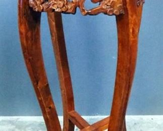 """Carved Wood Pedestal With Inlaid Marble Top, Floral Carvings And Curved Legs, 36.5"""" High x 10.5"""" Diameter Top"""