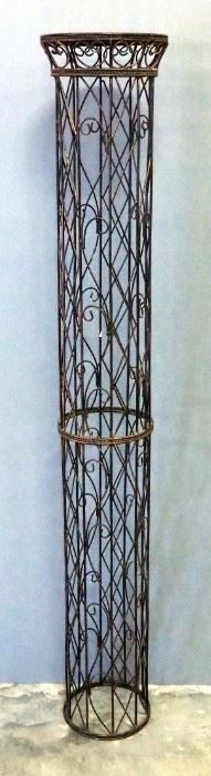 """Wire Pedestal With Reed And Wood Top, 63"""" High x 10.25"""" Diameter Top"""