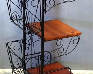 """Wood And Wire Rolling Cart, Back Compartments Are Removable, 26"""" High x 10"""" Wide x 14"""" Deep"""