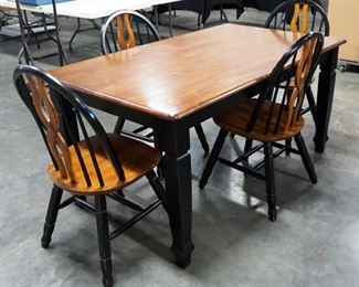 """Dining Table With 4 Matching Chairs, Made Of Ash But Stained Cherry And Black, Table Is 29.5"""" High x 59"""" Long x 36"""" Wide"""