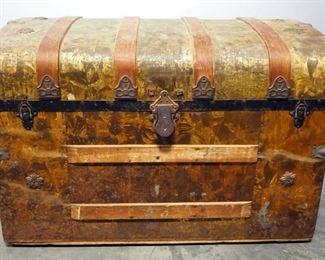 """Antique Rounded Top Trunk With Tin Overlay, Caster Wheels, Wood Bumpers And Inner Tray, 23.25"""" High x 34"""" Wide x 18.5"""" Deep"""