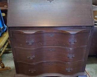 Robert- Keith Maddox Mahogany Antique Secretary Desk w Origianl Key and Claw Feet